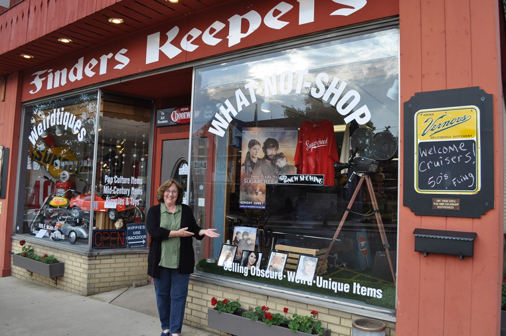Serena B. Miller in front of Finders Keepers on Main Street in Sugarcreek, Ohio